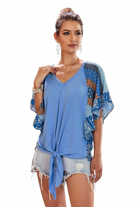 Blue Fashion Casual Short Sleeved Printed Top T-Shirt